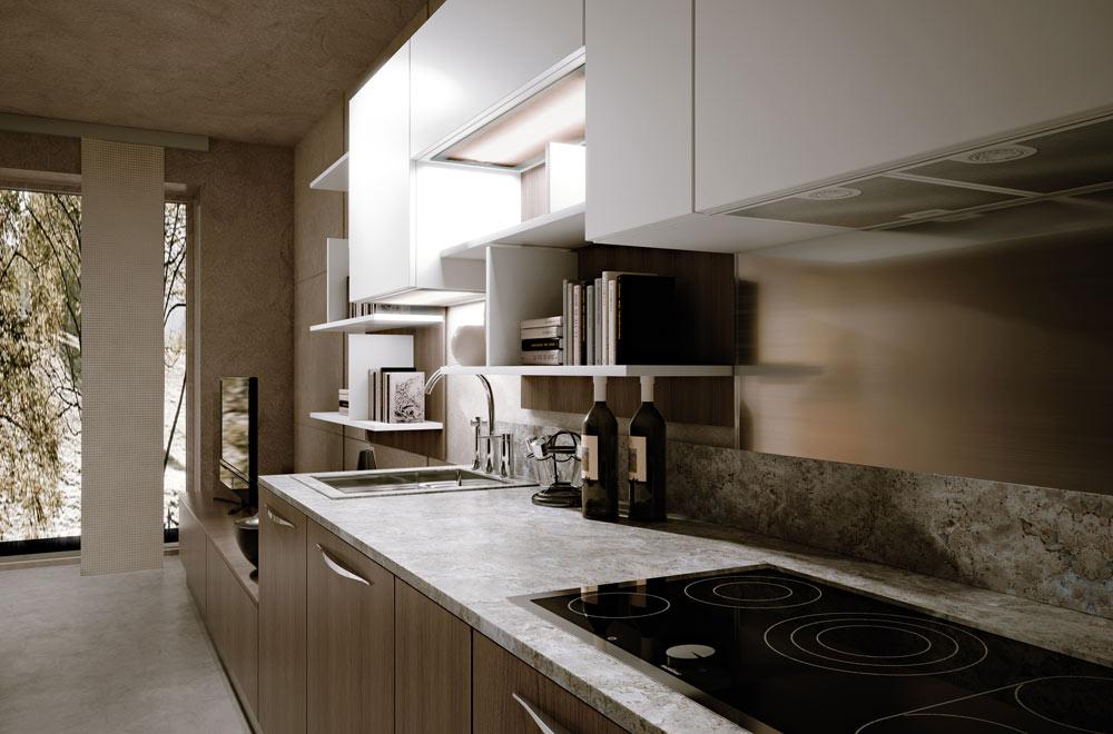 Tigullio scic - Cucina bianca e legno naturale ...