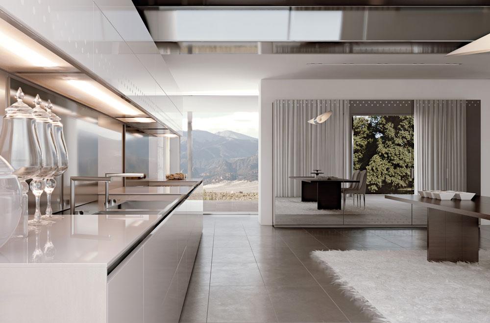 Conchiglia cucina laccata lucida – cucine in vetro cristallo a ...