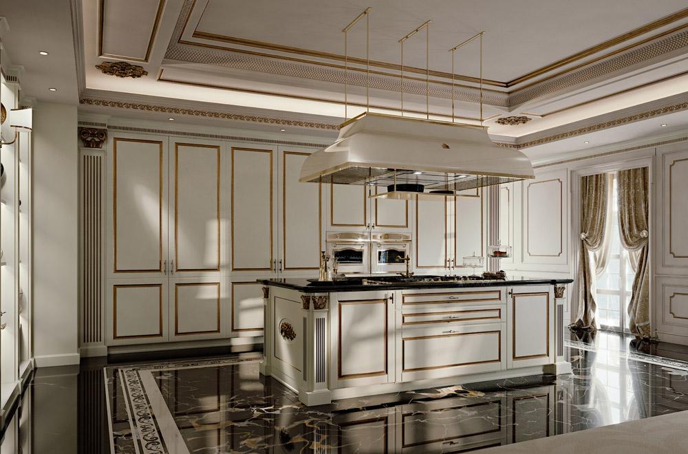 Palatina Cucine Stile inglese – Eleganti con colonne capitelli ...